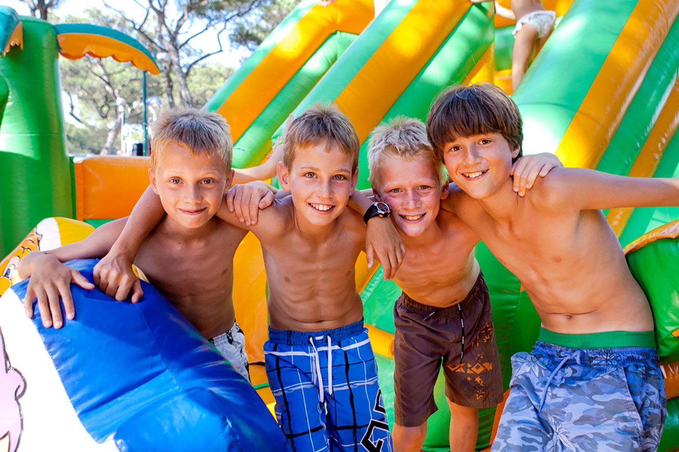 Campsite with games and activities for children
