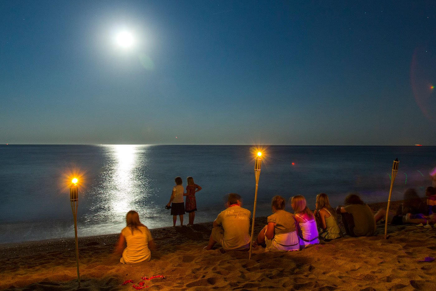 Campsite with night events on the beach. Costa Brava