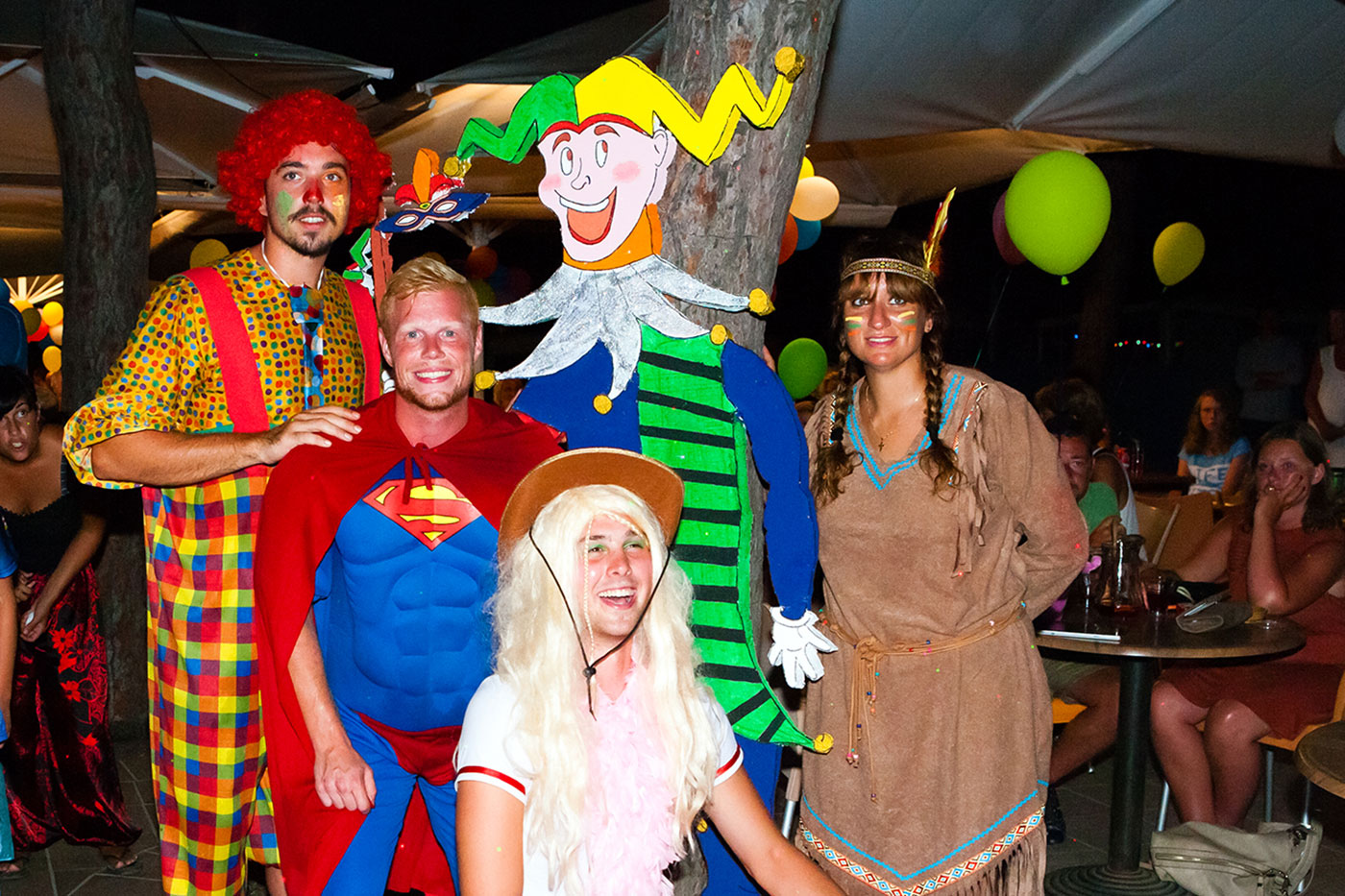 Campsite with fancy dress parties at night for all ages