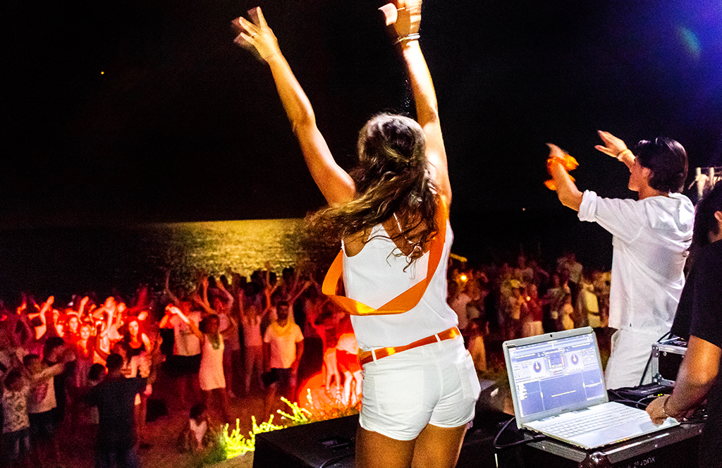 Parties and disco on the beach at a campsite in the Costa Brava. Night shows