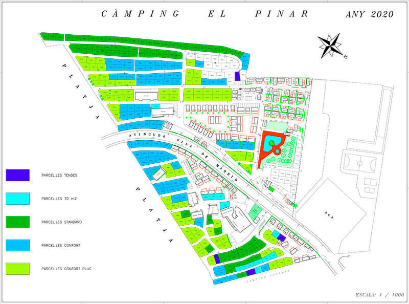 Map of the campsite pitches and accommodations on the Costa Brava